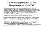 current interpretation of the requirements of nclb