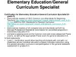 elementary education general curriculum specialist