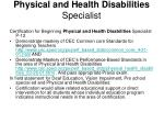 physical and health disabilities specialist