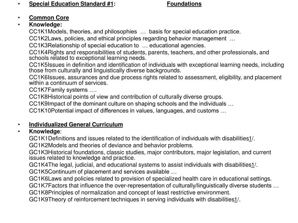 Special Education Standard #1