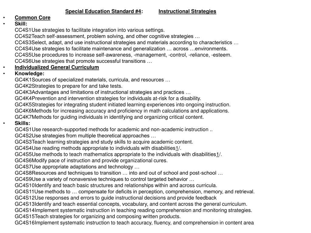 Special Education Standard #4