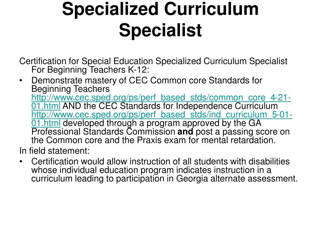 Specialized Curriculum Specialist