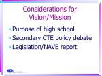 considerations for vision mission