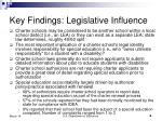 key findings legislative influence