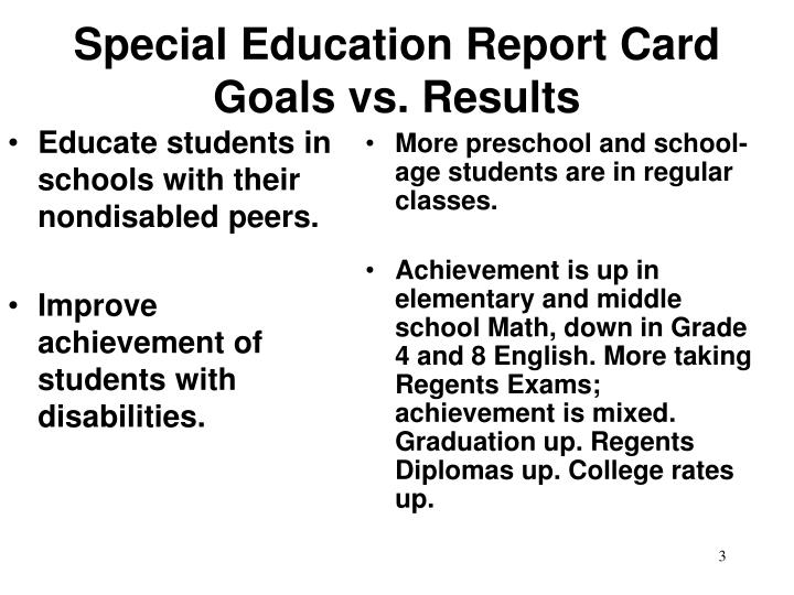 Special education report card goals vs results3