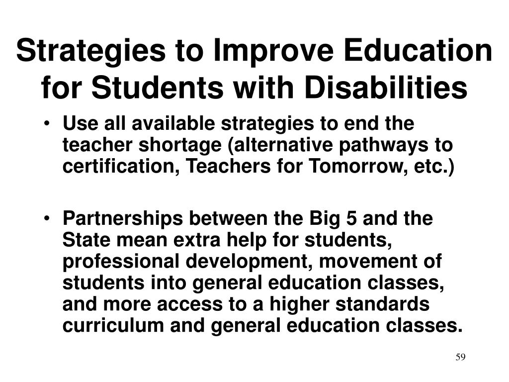 Strategies to Improve Education for Students with Disabilities
