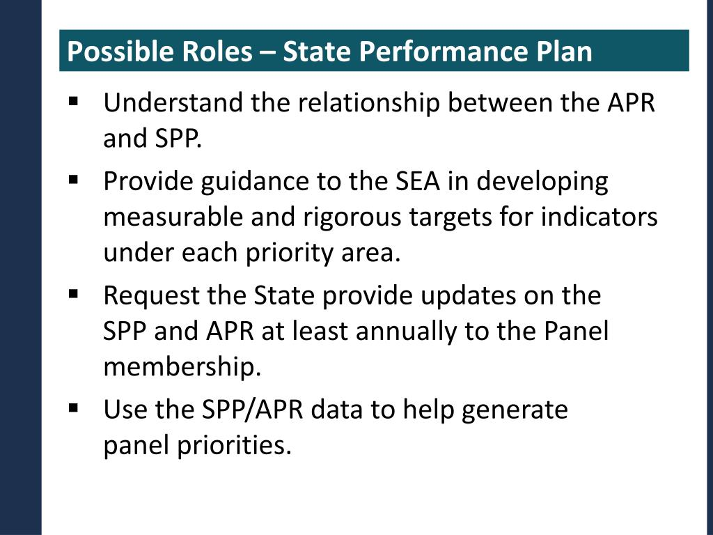 Possible Roles – State Performance Plan