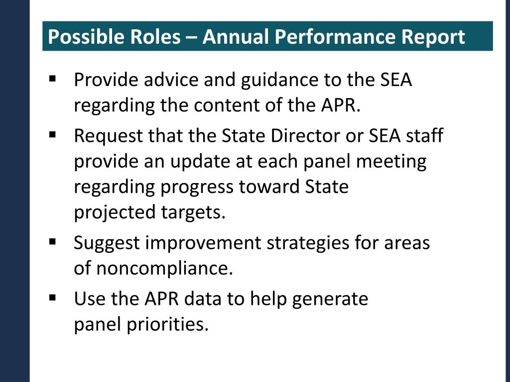 Possible Roles – Annual Performance Report