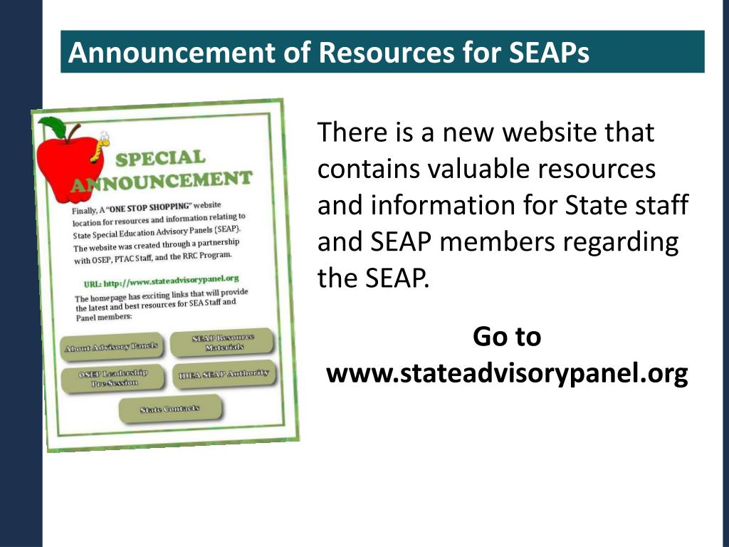Announcement of Resources for SEAPs