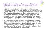 benjamin bloom publishes taxonomy of educational objectives the classification of educational goals