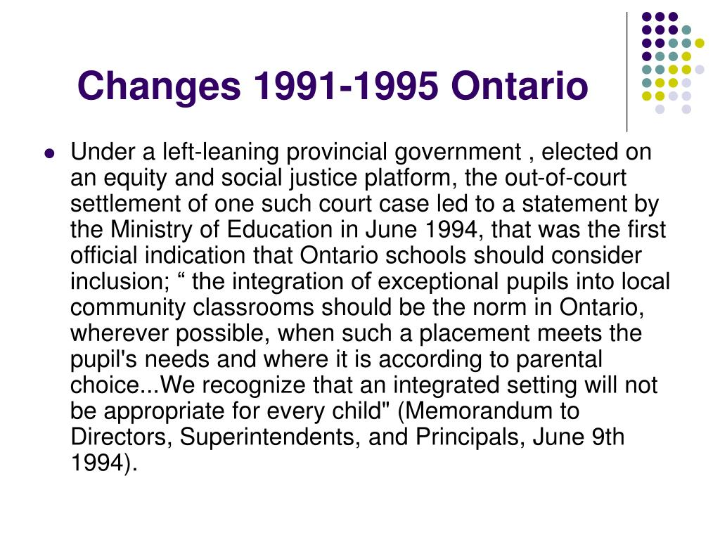 Changes 1991-1995 Ontario