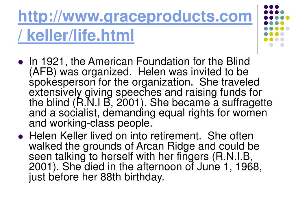http://www.graceproducts.com/ keller/life.html