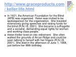 http www graceproducts com keller life html