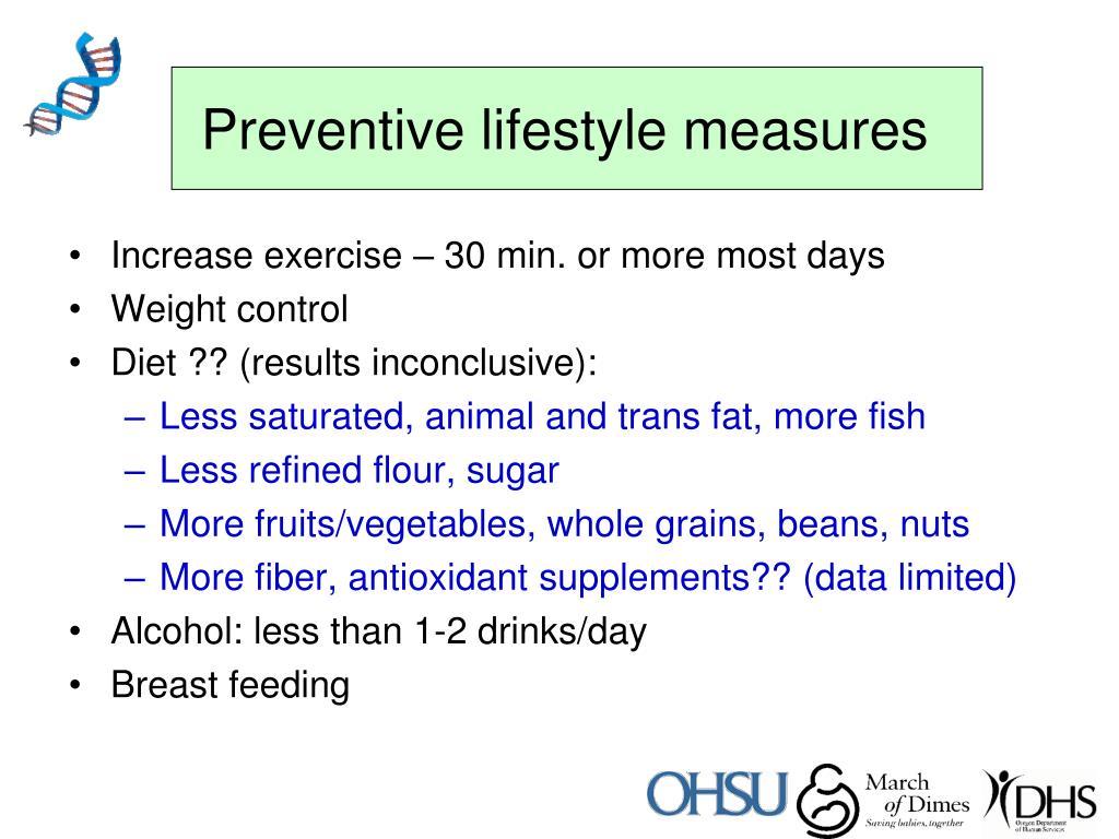 Preventive lifestyle measures