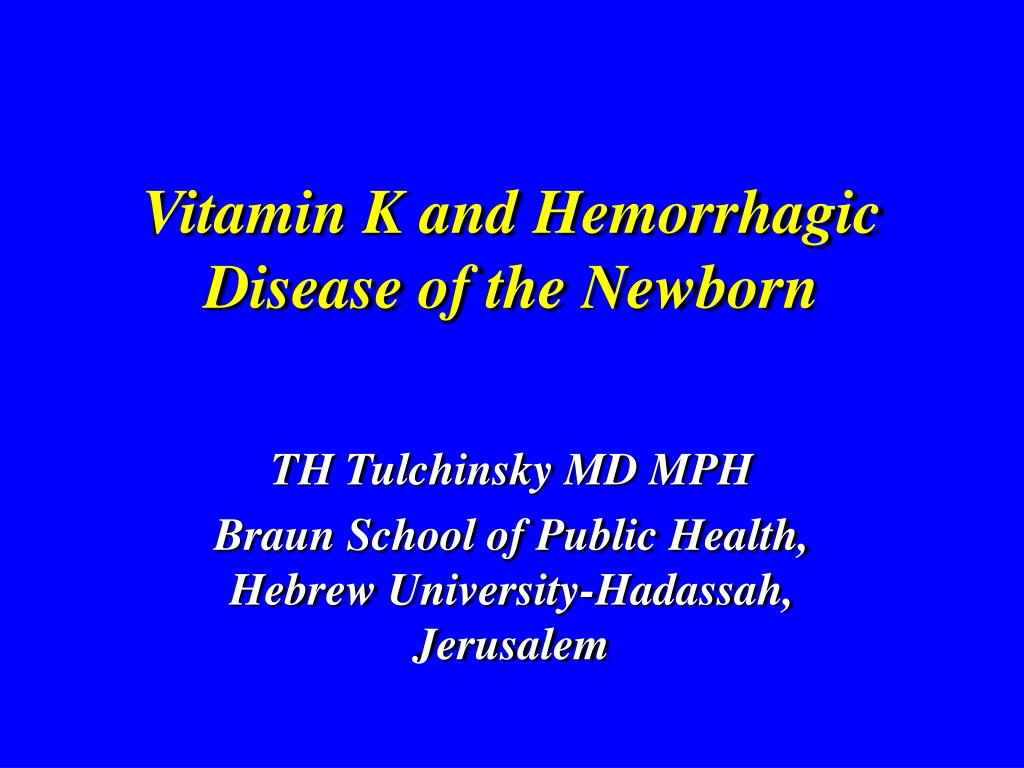 vitamin k and hemorrhagic disease of the newborn l.