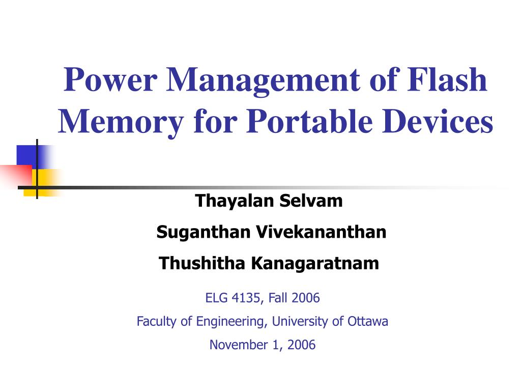 power management of flash memory for portable devices l.