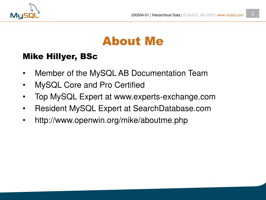 PPT - Managing Hierarchical Data in MySQL PowerPoint