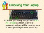 unlocking your laptop