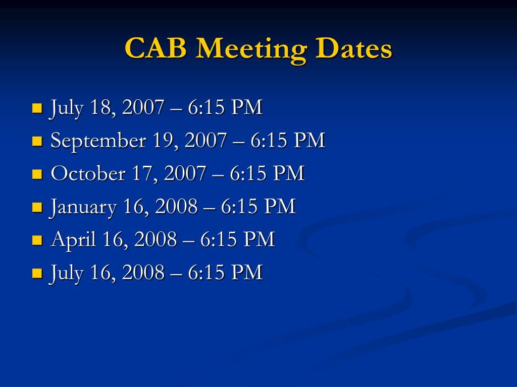 CAB Meeting Dates