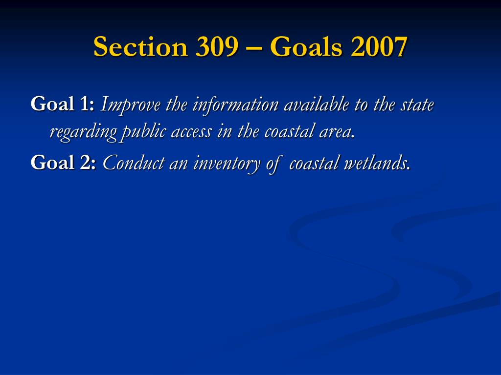 Section 309 – Goals 2007