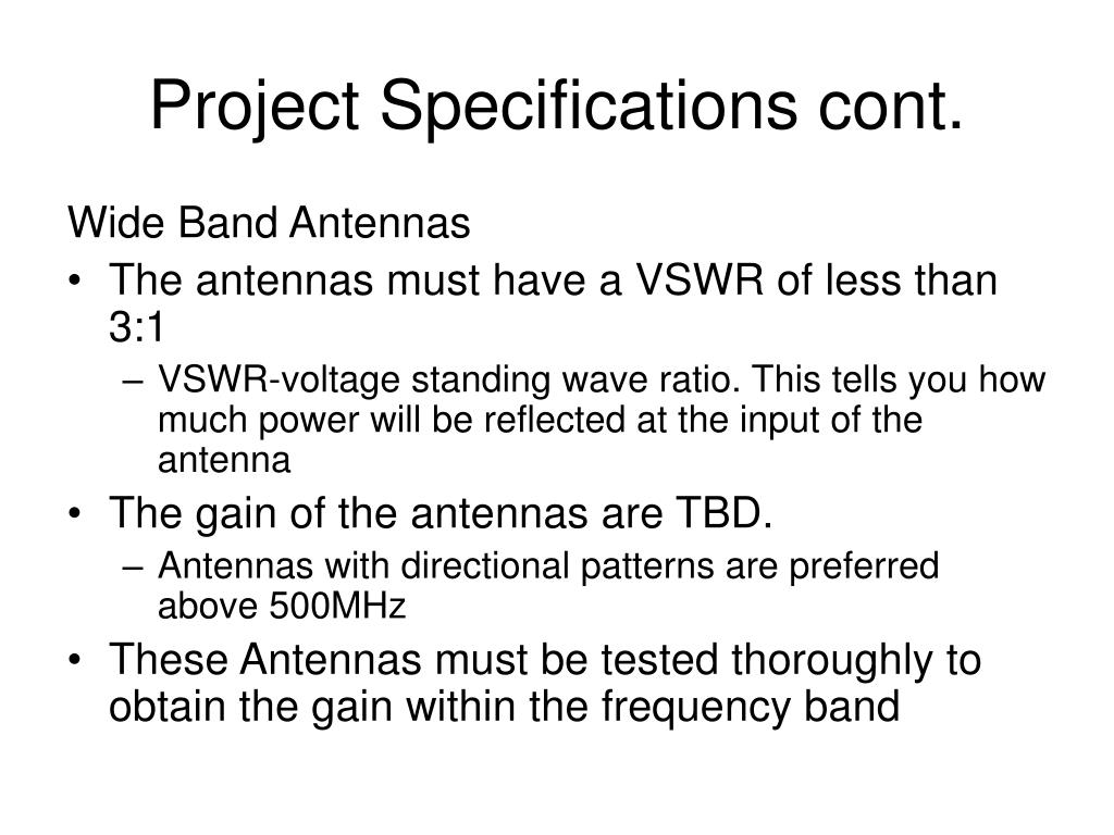 Project Specifications cont.