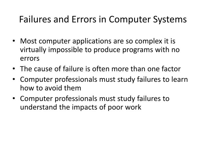 Failures and errors in computer systems