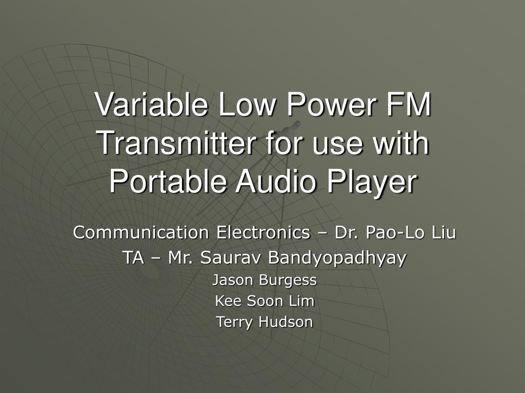variable low power fm transmitter for use with portable audio player l.