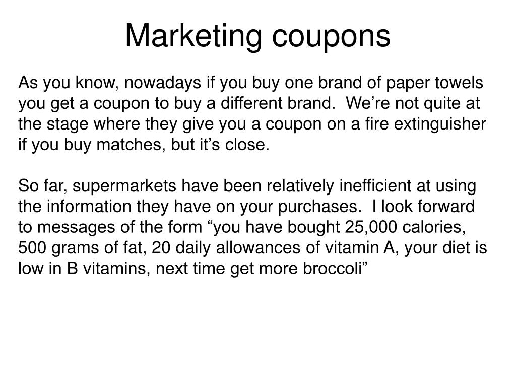 Marketing coupons
