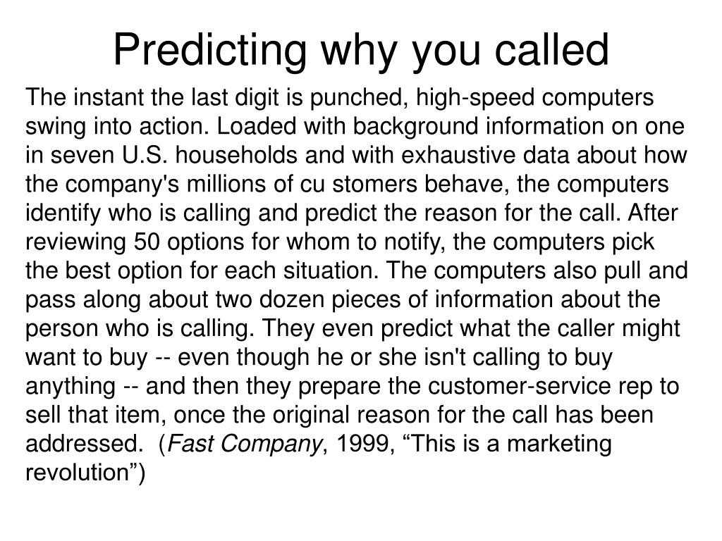 Predicting why you called