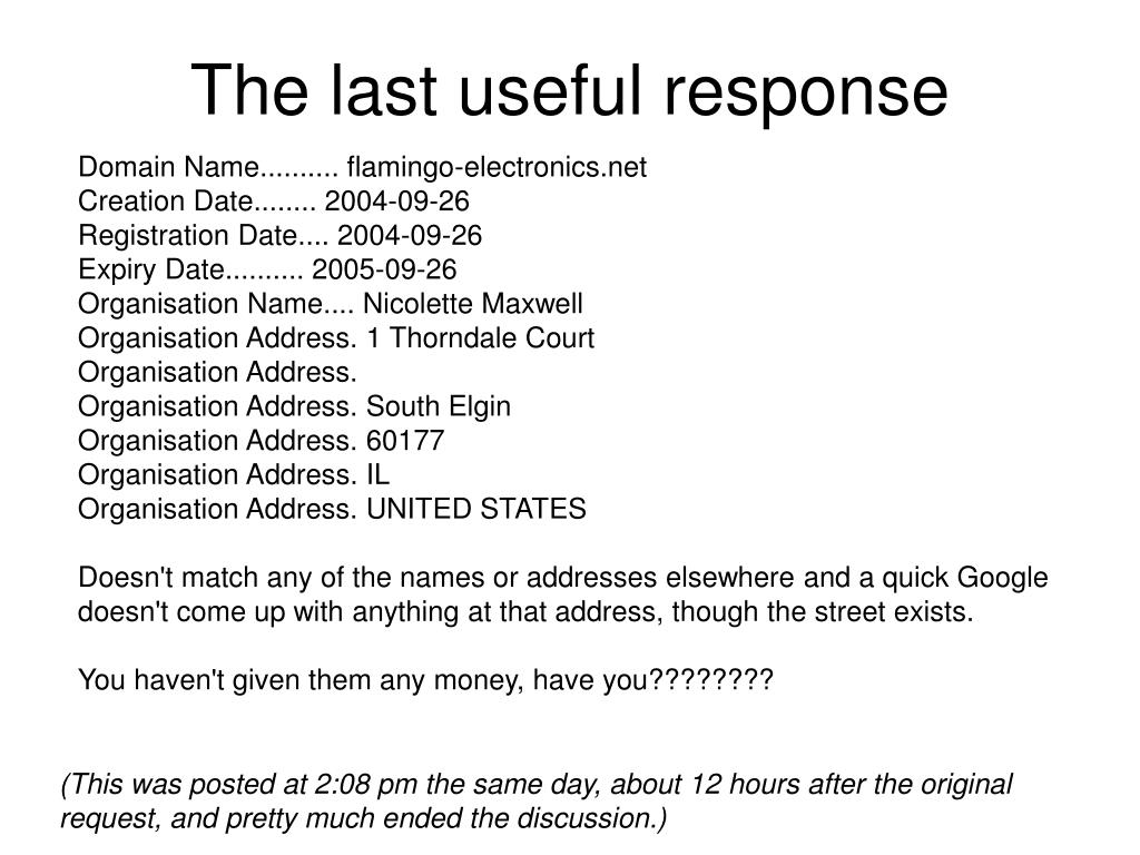 The last useful response