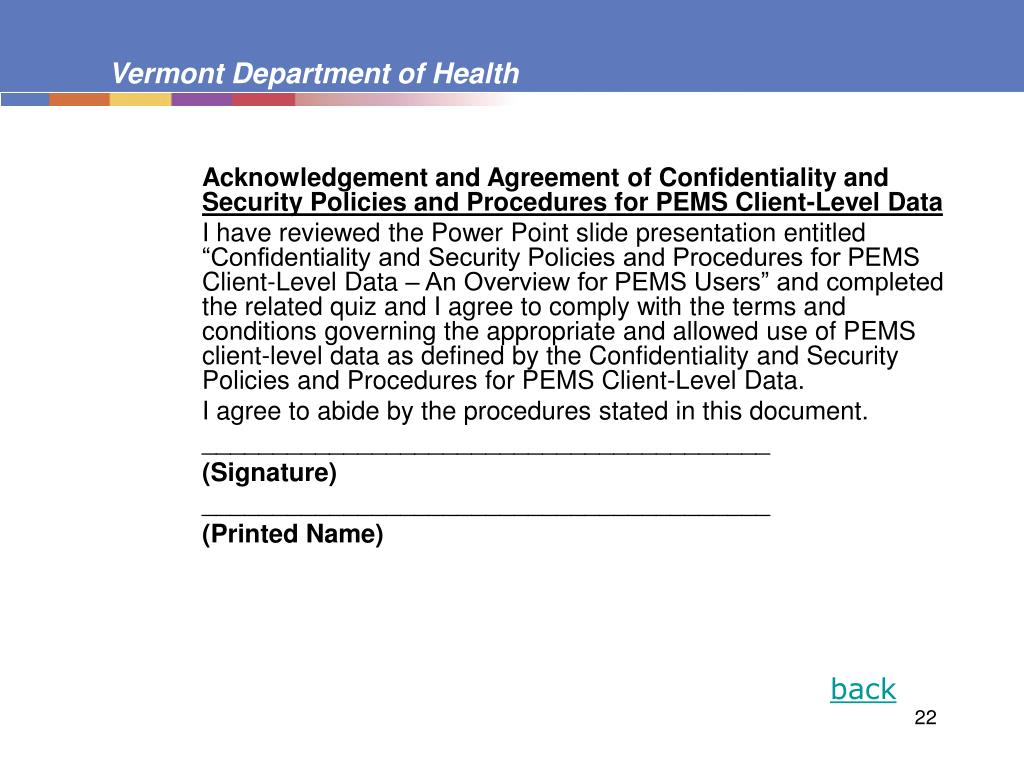 Acknowledgement and Agreement of Confidentiality and