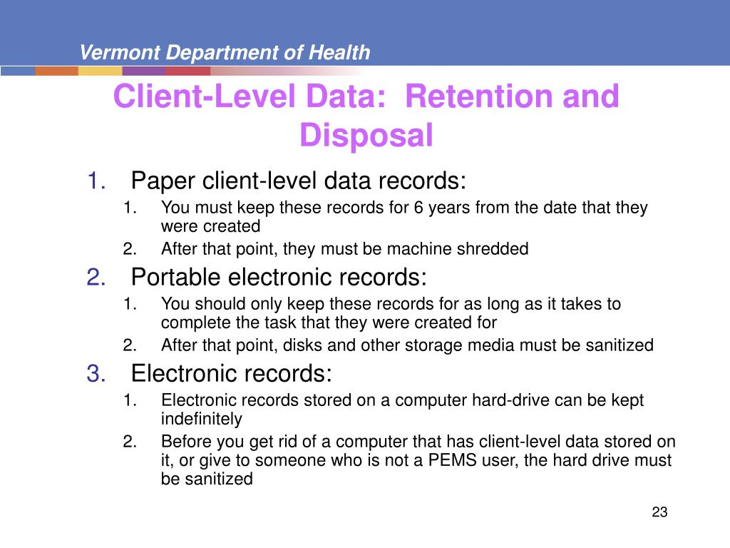 Client-Level Data:  Retention and Disposal