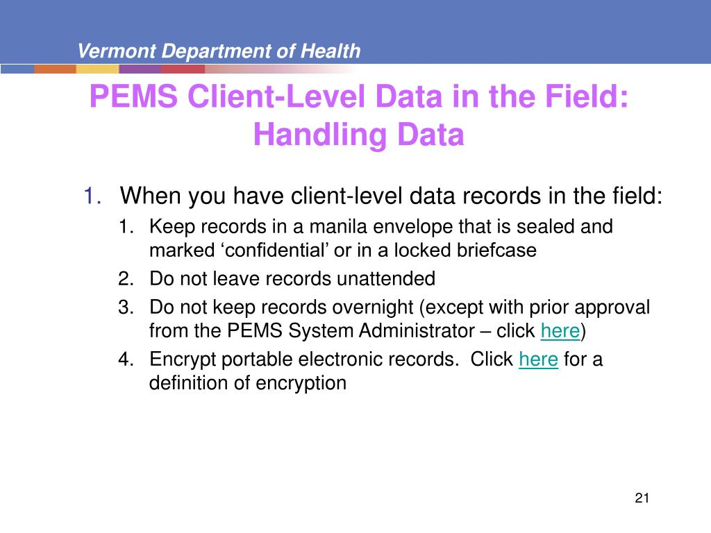 PEMS Client-Level Data in the Field: Handling Data