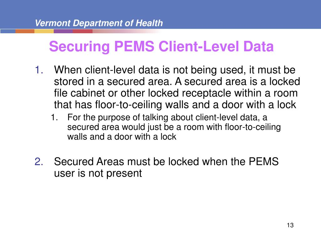 Securing PEMS Client-Level Data