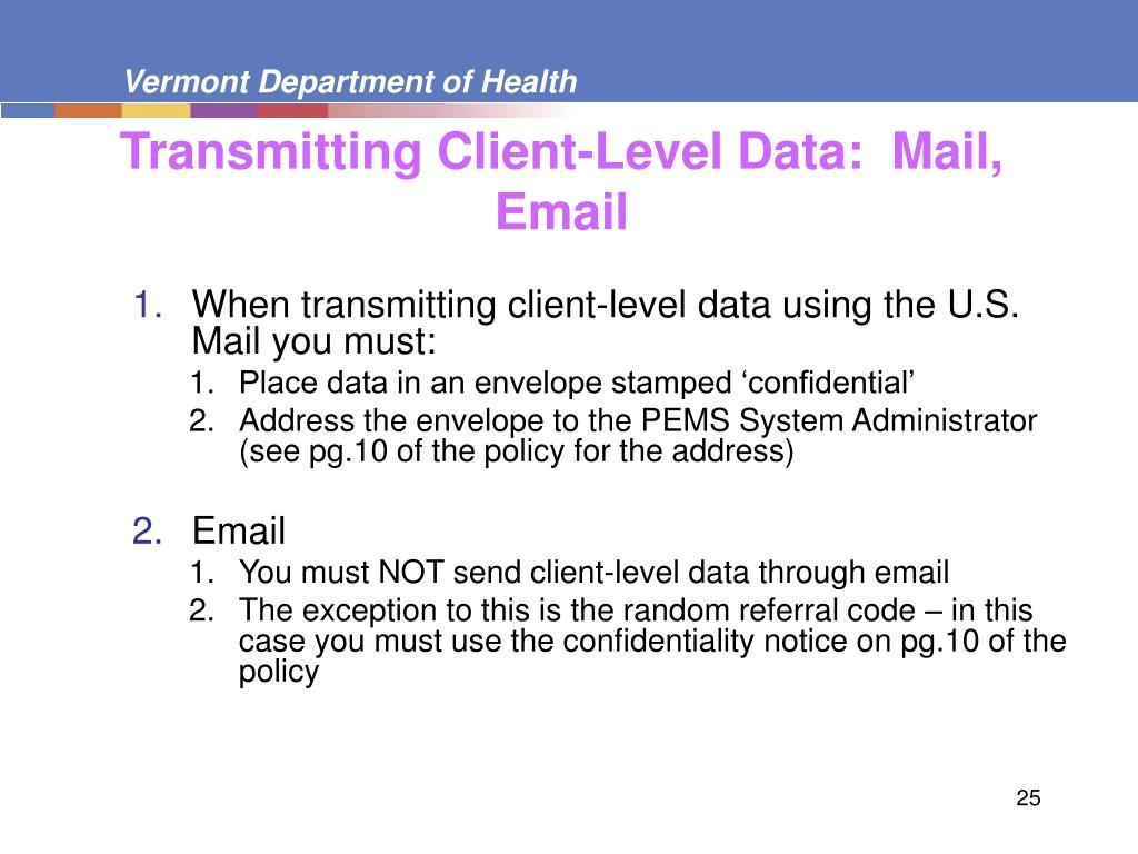 Transmitting Client-Level Data:  Mail, Email