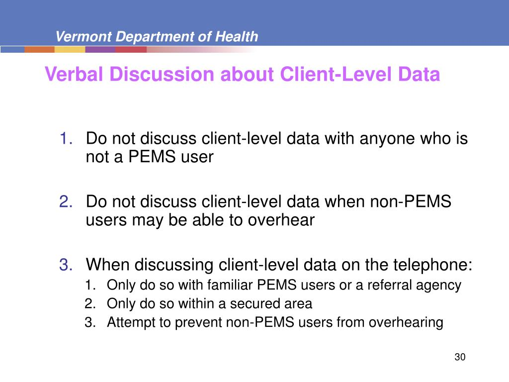 Verbal Discussion about Client-Level Data