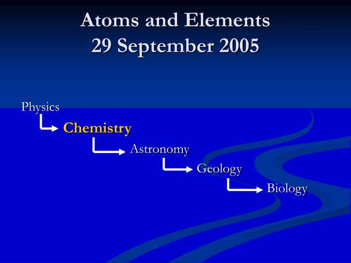 atoms and elements 29 september 2005 n.