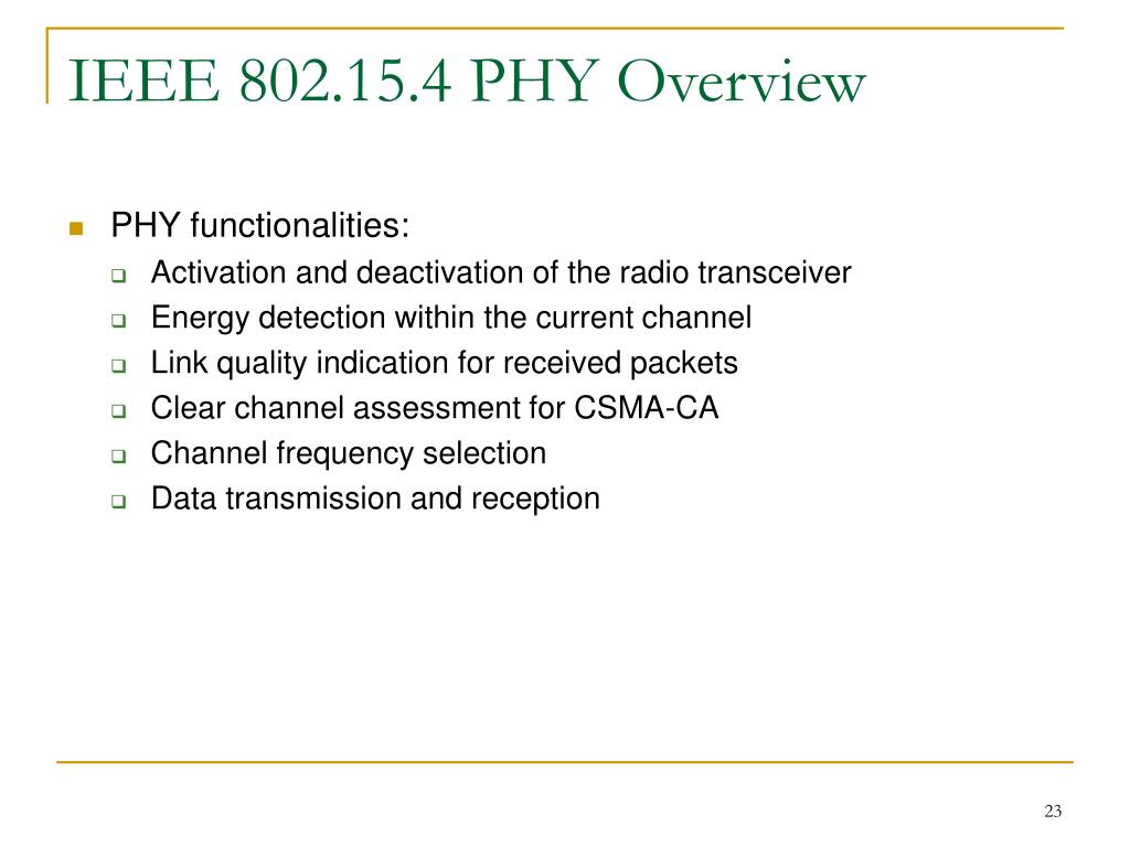 IEEE 802.15.4 PHY Overview