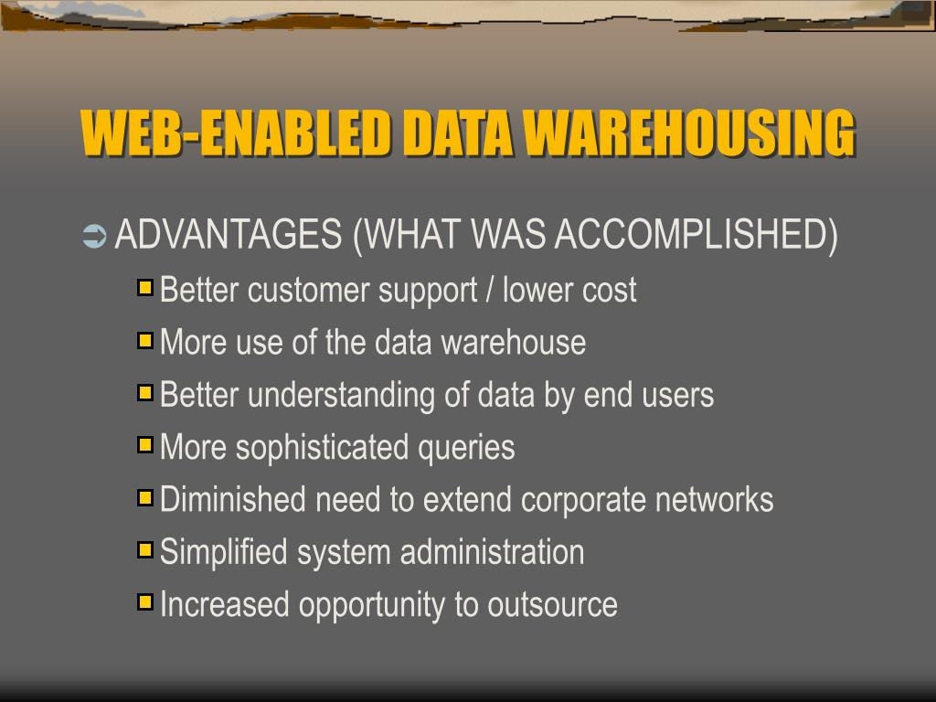 WEB-ENABLED DATA WAREHOUSING