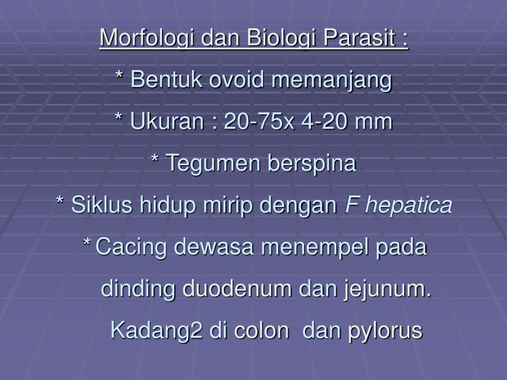 Morfologi dan Biologi Parasit :