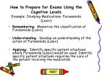 how to prepare for exams using the cognitive levels example studying medications furosemide lasix