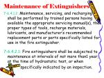 maintenance of extinguishers