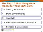 the top 10 most dangerous places for your ssn cont