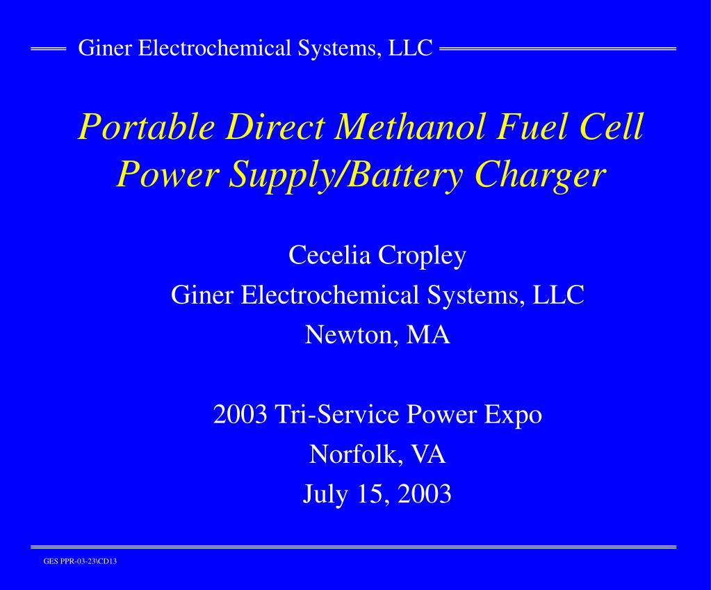 portable direct methanol fuel cell power supply battery charger l.