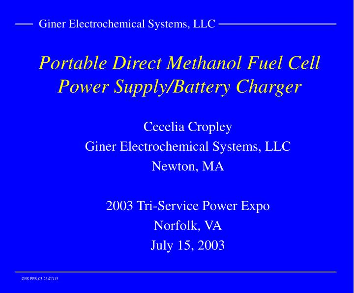 Portable direct methanol fuel cell power supply battery charger