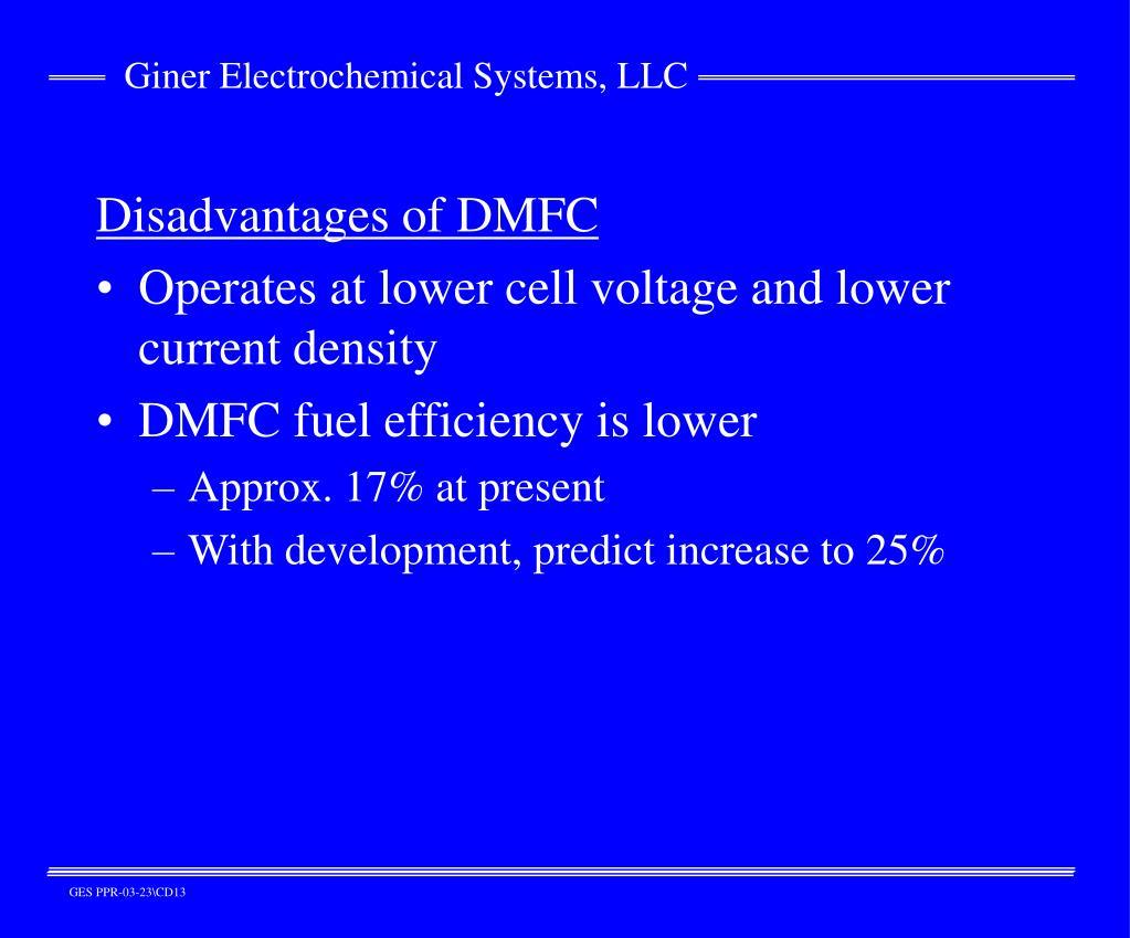 Disadvantages of DMFC