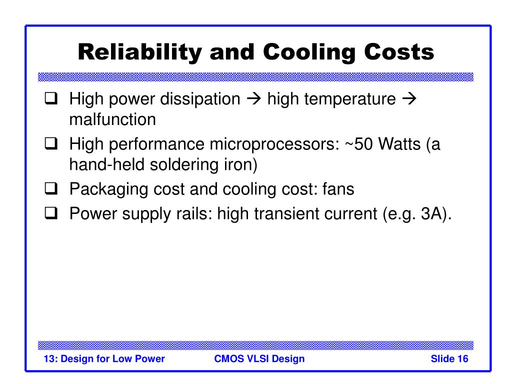Reliability and Cooling Costs