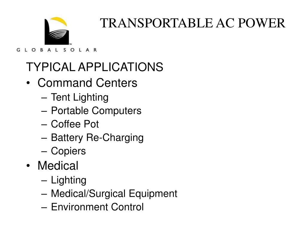 TRANSPORTABLE AC POWER