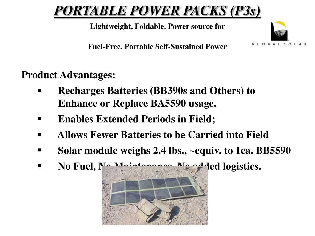 PORTABLE POWER PACKS (P3s)