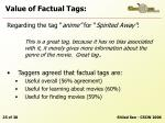 value of factual tags